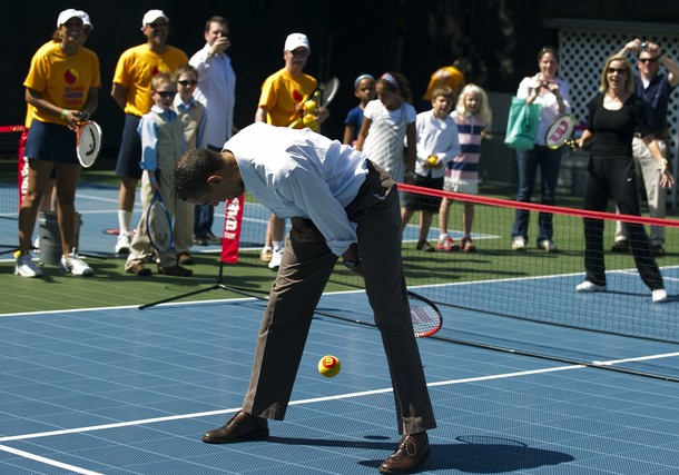 US President Barack Obama tries to hit t